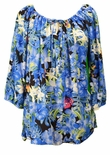Hibiscus Butterfly Orchid Womens Peasant Blouse