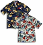 Hibiscus Drag Racers Men's cotton Hawaiian Aloha Shirt
