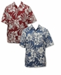 Jumbo Hibiscus Fern Men's Cotton Go Barefoot Aloha Shirt