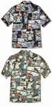 Hibiscus Fighter Planes Men's Aloha Style Shirt