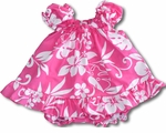 Hibiscus Hawaii State Flower puff sleeve, ruffle bottom cabana