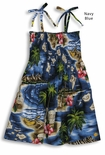 Hibiscus Hawaiian Islands Girls Cotton Sun Dress