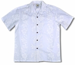 Hibiscus Panel Men's Wedding White Shirt