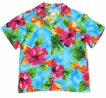 Hibiscus Watercolor Boy's Rayon Shirt