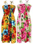 Hibiscus Watercolor Pain women's smocked sundress