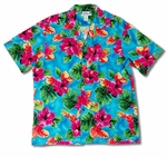 Hibiscus Watercolor men's Hawaiian aloha style shirt