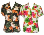 Hibiscus Watercolor Womens Fitted Blouse
