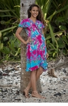 Hilo Jungle Sizes to 32 wrap around ruffled Rainbow Jo dress