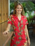 CLOSEOUT Island Bird of Paradise Panel Fitted Blouse