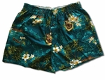 Island Music Bamboo Boxer Hawaiian Print Cotton Shorts