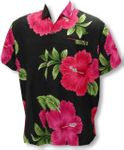 Jumbo Red Hibiscus Men's Happy Bay Terivoile Aloha Shirt