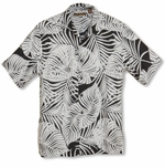 CLOSEOUT Jungle Leaf Men's Black & White Tropical Rayon Cubavera