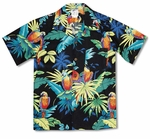 Jungle Parrots Boy's Cotton Hawaiian Shirt