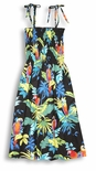 Jungle Parrots Spaghetti Strap Cotton Tube Top Sun Dress