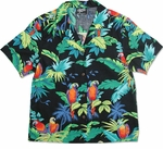 Jungle Parrots women's cotton aloha shirt