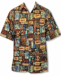 Kailua Polynesian Tropical Print Men's Go Barefoot Cotton Shirt
