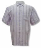 CLOSEOUT Lavender Peace Stripe Yarn Dyed Textured Shirt