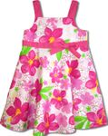 Watercolor Hibiscus Girl's Empire Bow Flare Dress
