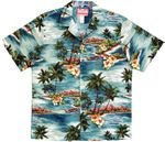 Lost Outrigger on Plumeria Island Men's Cotton Aloha Shirt