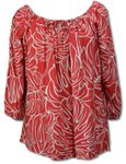 Monstera Christmas Red Womens Peasant Blouse