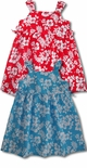 Maile Hibiscus Double Side Tie Bungee Strap Polyester/Cotton Dress