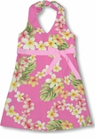 Maui Plumeria Girl's 100% Cotton Halter Dress with contrasting Bow