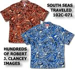 Men's Hawaiian Shirts RJC Robert J. Clancey, Go Barefoot, Pacific Legend, Chest Band Shirts, Two Palms. All made in Hawaii U.S.A.