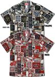Mens Hawaiian Shirts RJC Robert J. Clancey, Go Barefoot, Pacific Legend, Two Palms. All best quality made in Hawaii U.S.A.