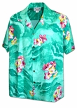 Mens Hibiscus Ocean Waves Cotton Shirt
