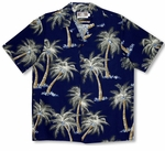 Midnight Coconut Tree Men's (RJC) Robert J. Clancey 100% Peached Cotton Shirt
