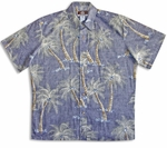 Midnight Coconut Tree Reversed Men's Robert J Clancey (RJC) 100% Peached Cotton Hawaiian Shirt