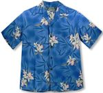 Midnight Orchid white and pink orchids men's aloha shirt