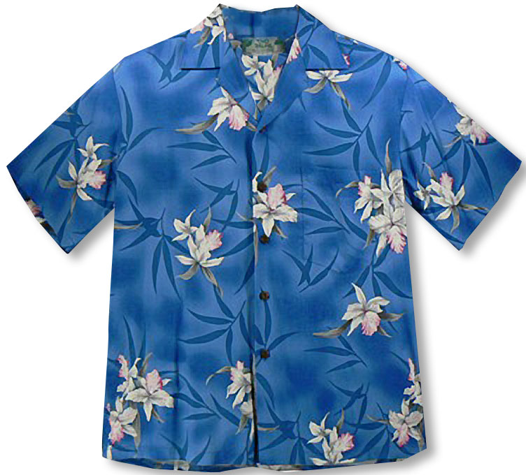bdef77061f Midnight Orchid white and pink orchids men's aloha shirt