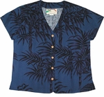 Midnight Palm Aloha Blouse