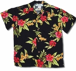 Mini Hibiscus Boy's Two Palms Label Hawaiian Rayon Shirt