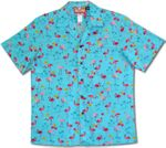 Mini Pink Flamingos men's cotton aloha shirt