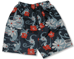 Mens Modern Hibiscus Elastic Waist Nylon Swim Shorts - Small Size Only