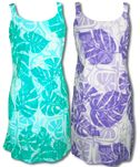 Floating Monstera A-Line Sundress Puanani Label 100% Rayon Aloha Style
