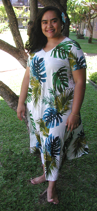 286d680058e1 Monstera Fern Large Plus Size Hawaiian Print Dress