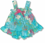 Monstera Plumeria Line Art Girl's Ruffle 2pc