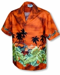Motorcycle Hawaiian Sunset Men's Shirt