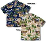 5X Motorcycle Island men's cotton aloha shirt