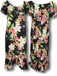 3X Nadina Long tropical print ankle length Dress