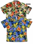 Neon Hibiscus State Flower Men's Hawaiian Aloha Cotton