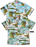 Hawaiian Island Airplanes Men's Cotton Aloha Shirt