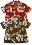 CLOSEOUT Old School Hibiscus Cotton Camp Shirts