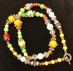 Orange, Green and Yellow Crystal Beads Necklace