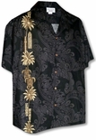 Ornate Turtle Tiki Surfboard Men's Panel Shirt