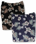 Outline Hibiscus Hawaiian Islands Label Elastic Waistband Inside Drawcord 3X Sizes Only