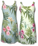 Pale Hibiscus Orchid women's bias cut dress